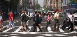 Pedestrians at crosswalk