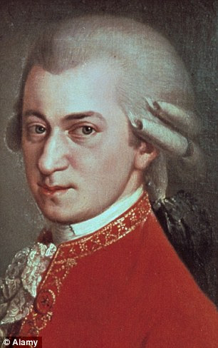 The research involved participants listening to Mozart (pictured) for 20 minutes