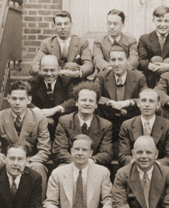 photograph of Hans Bethe with other Cornell physics faculty