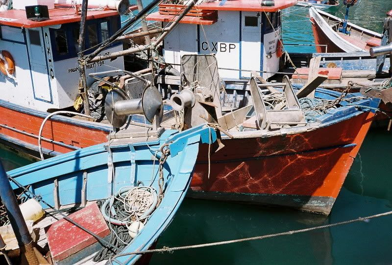 Closer view of fishing boats