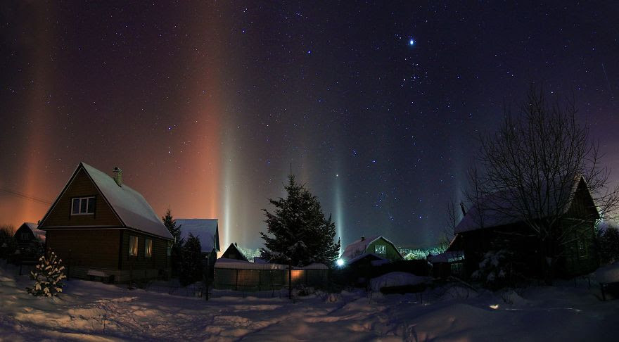 Light Pillars in Russia