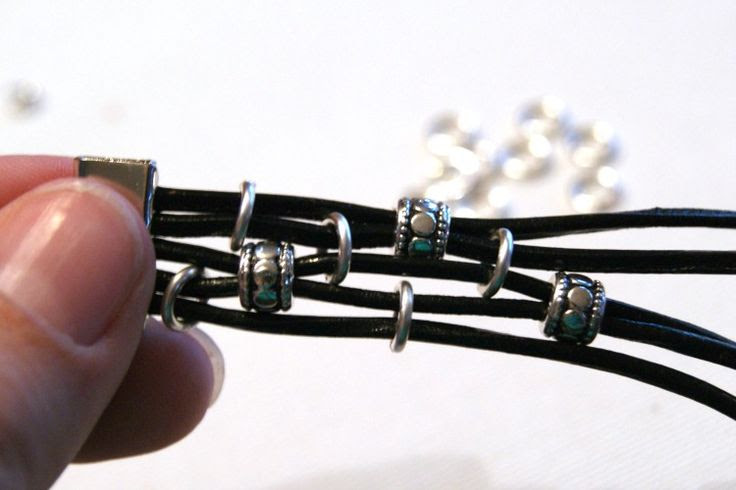 DIY Leather Bracelet Featuring Cord & Jump Rings