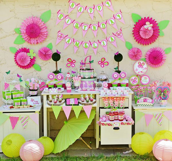 Bright Pink Green Butterfly Party Ideas Hostess With The Mostess