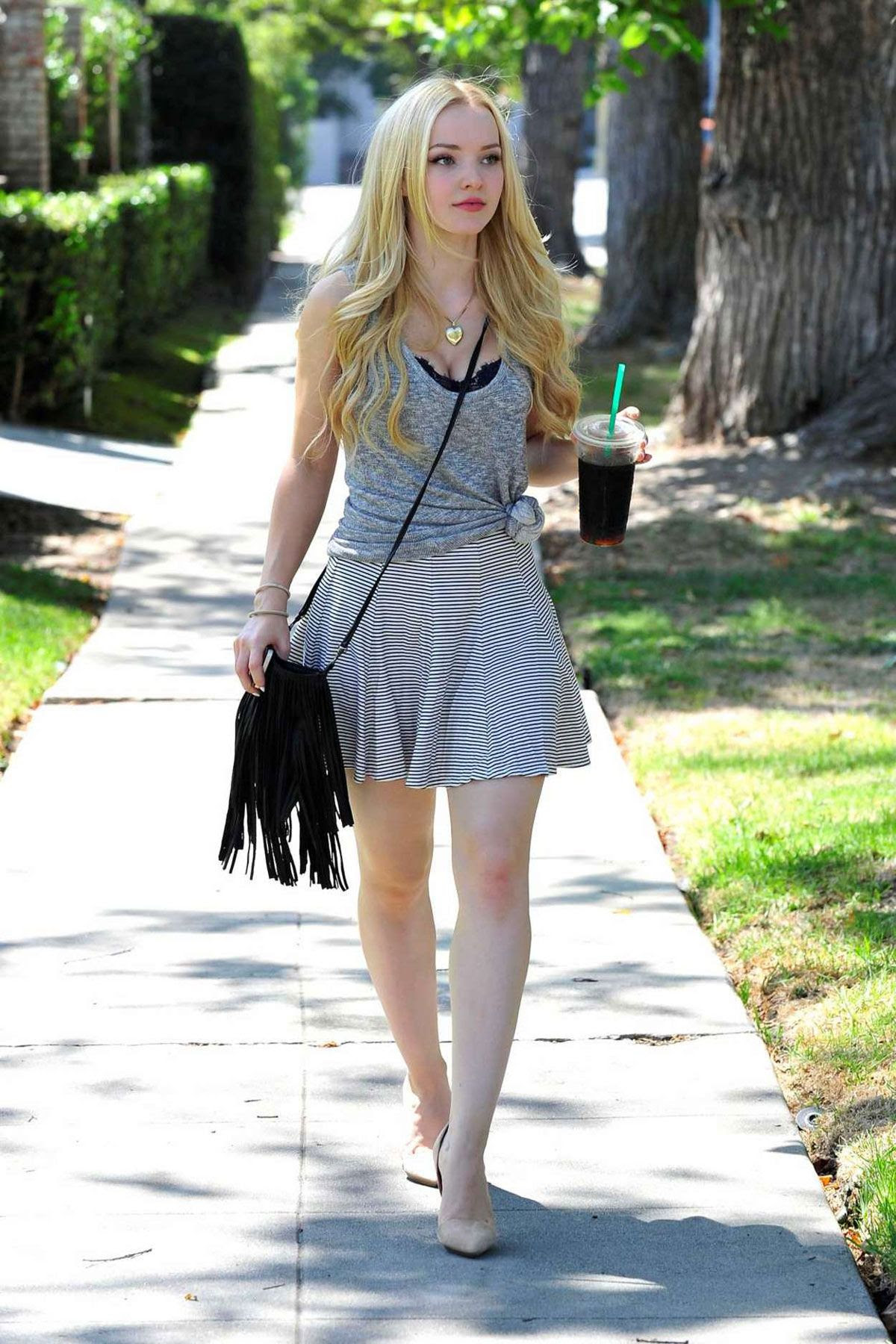 DOVE CAMERON in Skirt Out and About in Beverly Hills 10/14/2015