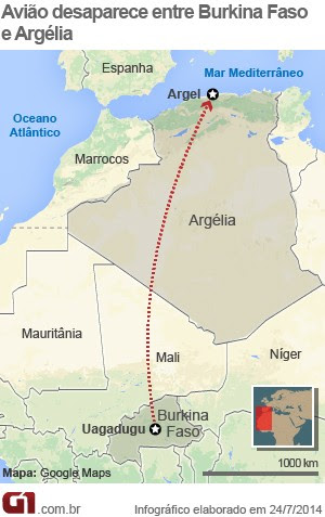 mapa avião argélia (Foto: Arte/G1)