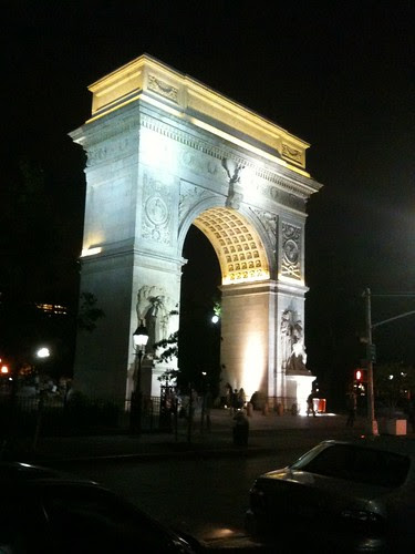 Washington Square Arch, at night
