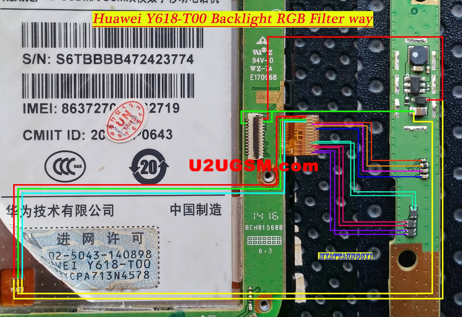 Huawei Y618-T00 Cell Phone Screen Repair Light Problem Solution Jumper Ways