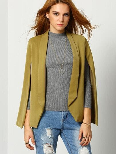 Army Green Lapel Cape Blazer pictures