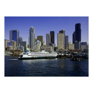 Seattle Ferry and Buildings Poster print