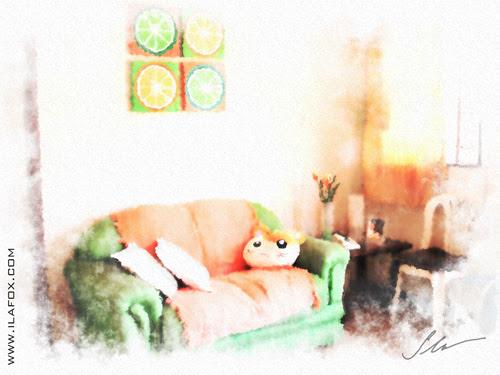 a sala e o sofá da casinha tomazina, pintura em aquarela digital by ila fox