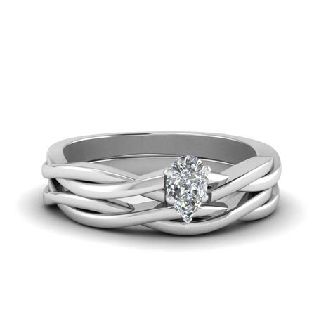 Pear Shaped Delicate Twisted Vine Wedding Ring Set In 14K
