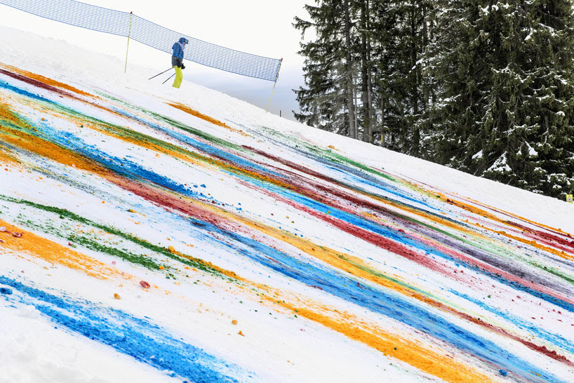 olaf breuning colorizes a mountainside for snow drawing