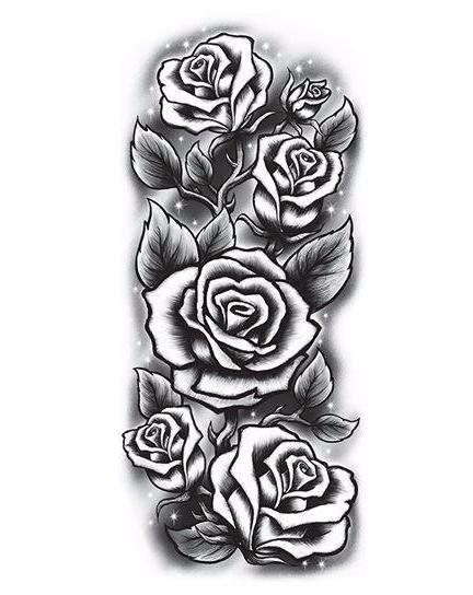 Large Black Rose Sleeve Temporary Tattoo Tempotats