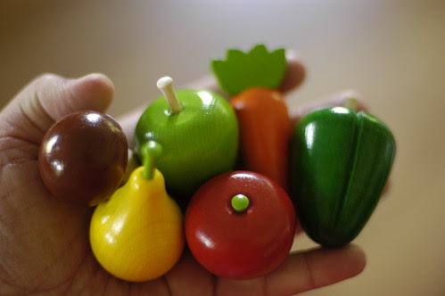 tiny wooden vegetables