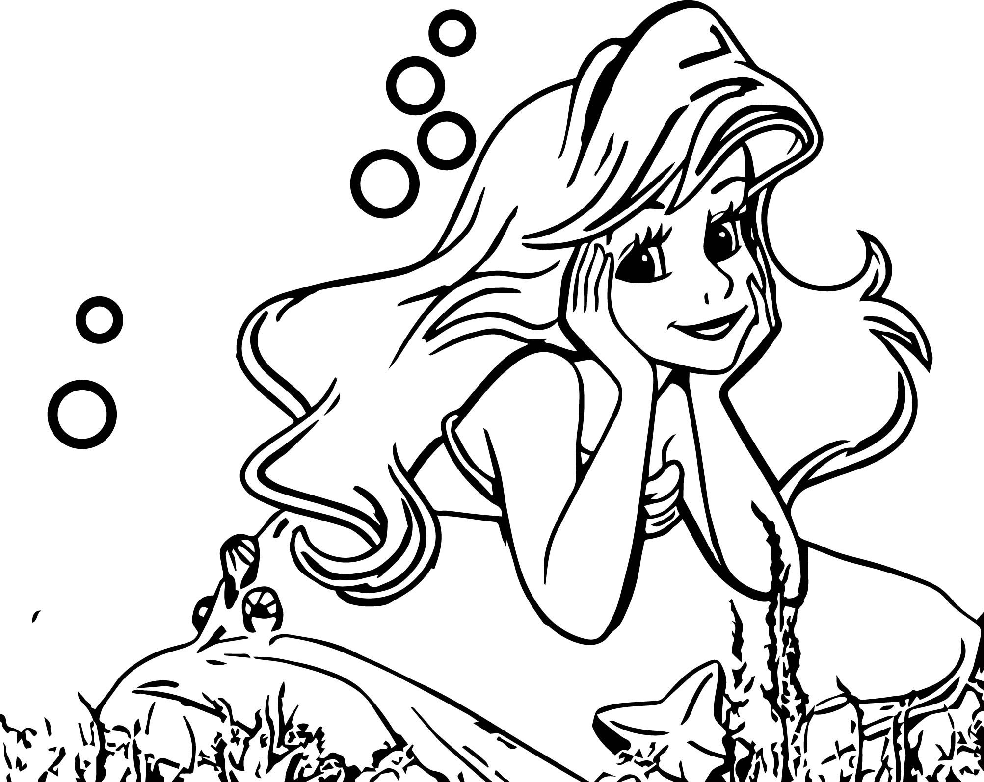 Cute Thinking Ariel Mermaid Coloring Page | Wecoloringpage.com