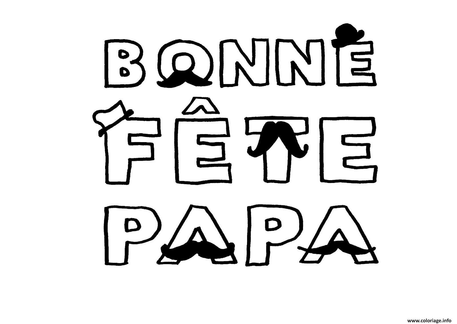 Coloriage Bonne Fete Papa Avec Moustaches Dessin  Imprimer