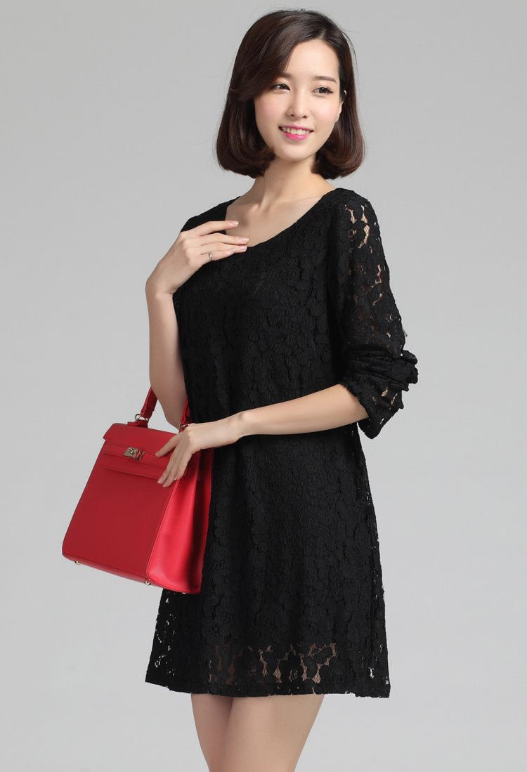 DRESS LACE KOREA BAJU KOREA ASLI BIG SIZE DRESS CANTIK