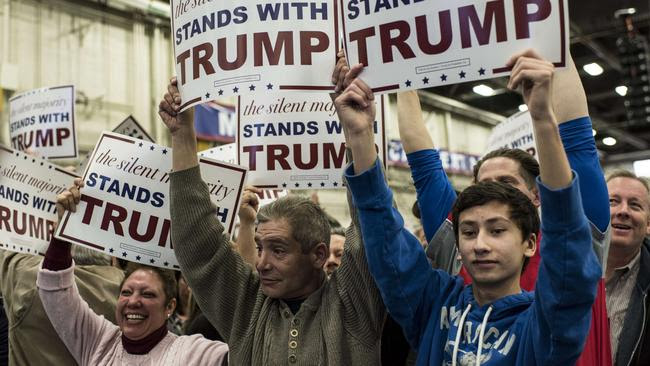Supporters gather for Donald Trump prior to a campaign rally on April 6, 2016 in Bethpage, New York. Picture: Andrew Renneisen/Getty Images/AFP