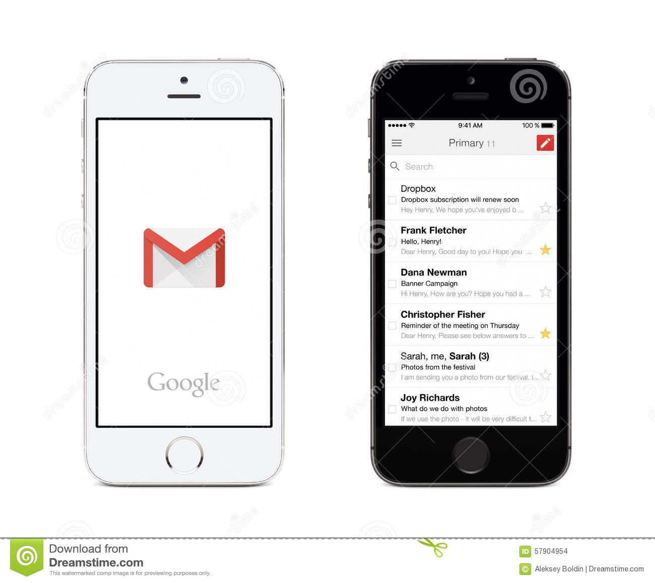 Google Gmail App And Gmail Inbox On White And Black Apple