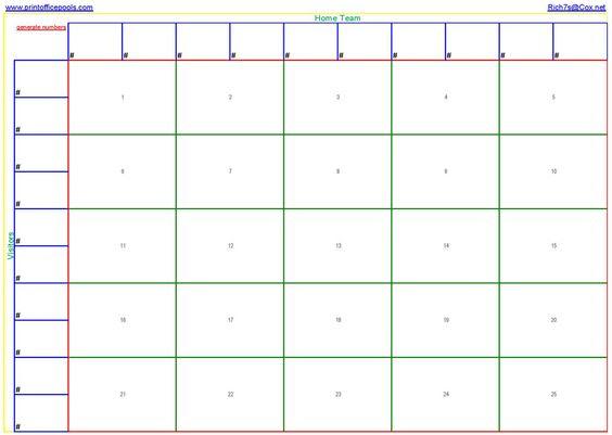 25 Square Football Pool Template | Printable 25 square football ...