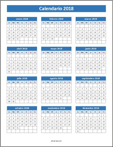 calendario 2018 excel para imprimir color
