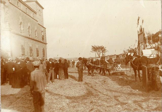 Feria de Maquinaria Agrícola en el Hospital Tavera hacia 1910. Fotografía de los Sucesores de Compañy © Cámara Agraria de Toledo, Junta de Comunidades de Castilla-La Mancha