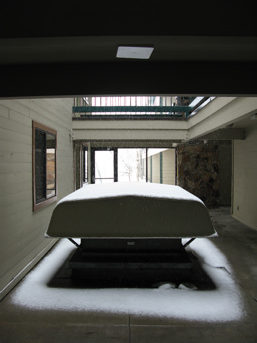 snowing in the hallway at Park Regency Resort, Park City, Utah