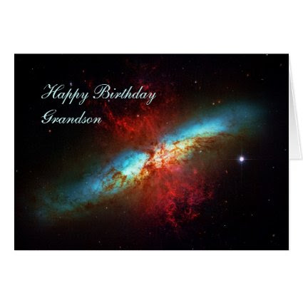 Happy Birthday Grandson - A Starburst Galaxy Greeting Card