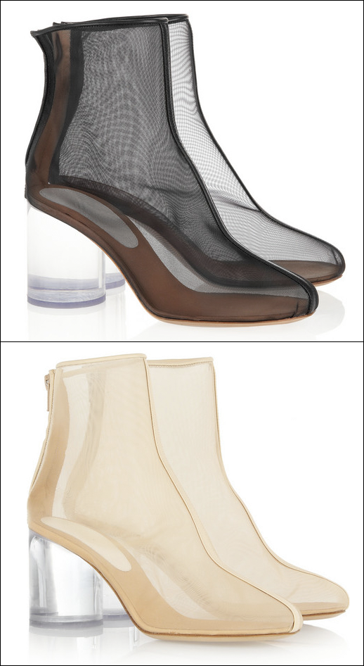 MAISON MARTIN MARGIELA MESH BOOTIES BLACK AND NUDE CLEAR HEEL FROM NET A PORTER  Leather-trimmed mesh and Perspex boots