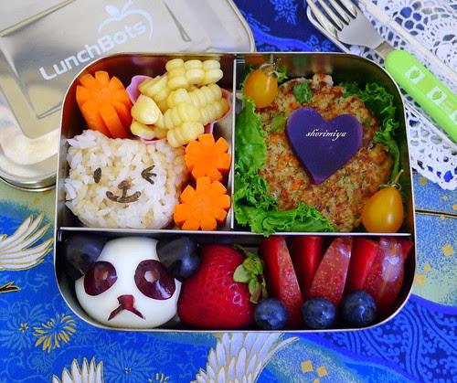 Panda Egg Salmon Patty Bear Onigiri Lunchbots Bento by sherimiya ♥
