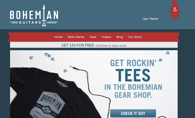 bohemian guitars shopify website layout