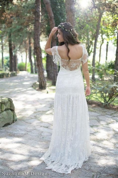 Cream Bohemian Wedding Dress Beautiful Lace Wedding Long