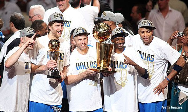 The Dallas Mavericks celebrate their first championship after beating the Miami Heat, 105-95, in Game 6 of the NBA Finals...on June 12, 2011.