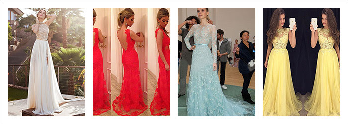 Red and Blue Prom Dresses !