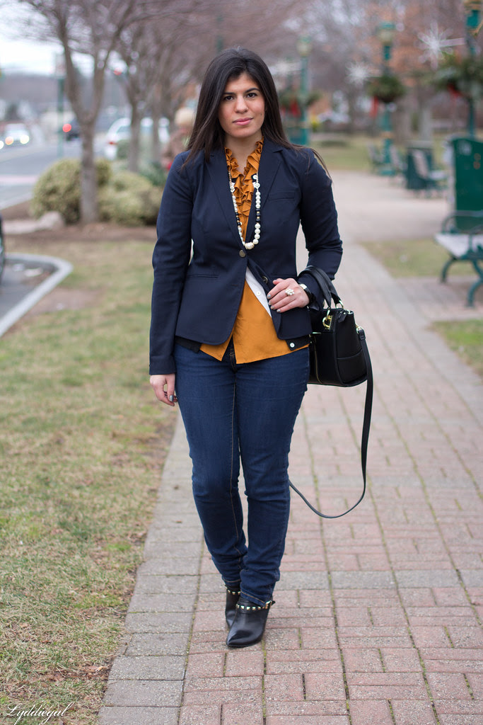 orange ruffled blouse, navy blazer-1.jpg