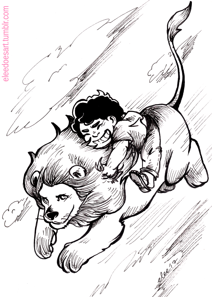 Inktober Day 11: Run So today l realized how lucky l am Steven Universe exists. (If Steven's lion can run among the clouds is it considered flying or running? :P)