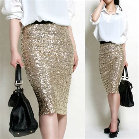 high waist style bandage sequin skirt pencil  gold