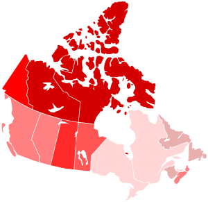 Map of violent crime rates across Canada, 2007...
