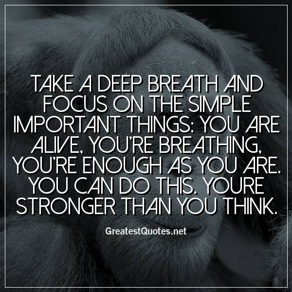 Take A Deep Breath And Focus On The Simple Important Things You Are