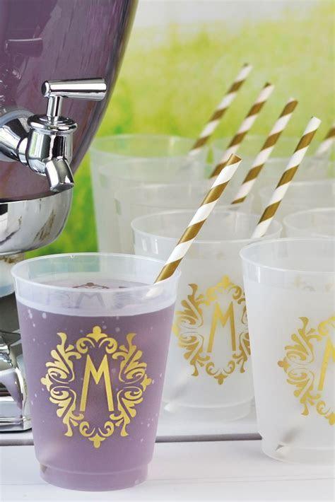 16 Oz Reusable Art Deco Initial Frosted Plastic Cups (Set