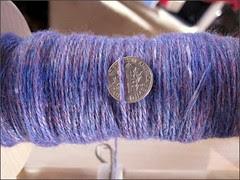 Plying the purple Merino-silk