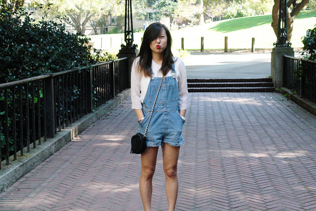A CA-based personal style blog: thrifted Gap overalls, Dolce Vita white top via Stitch Fix, gifted vintage crossbody bag, black Zara ballerina blocked heels