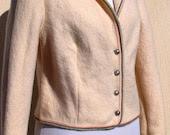 Wool Jacket, Cream Woollen Blazer, Wool Jacket Made in Austria - taffetablue