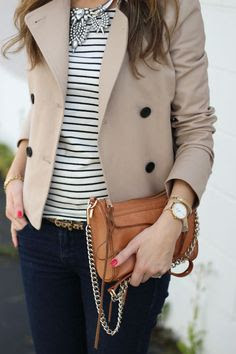 Statement necklace and trench
