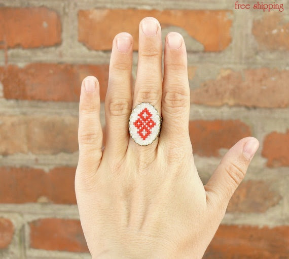 Cross-stitch ring