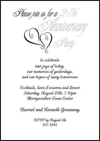 Silver Hearts 25th Wedding Anniversary Party Invitation