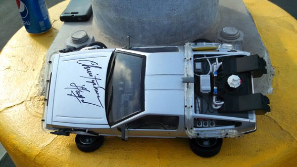 A DeLorean time machine toy that's autographed by Doc Brown (Christopher Lloyd) himself...on display at Puente Hills Mall in the City of Industry on October 18, 2015.