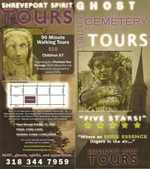 Ghost Walking Tour Shreveport Spirit Tours Rack Card