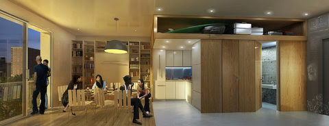 """The interior of the winning design, """"My Micro NY,""""  in New York City's tiny-apartment competition. The entry packs a lot into units less than 370 square feet."""