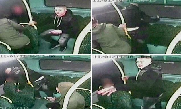 Jason Wilson is pictured on CCTV attacking fellow bus passenger Ashley Madden